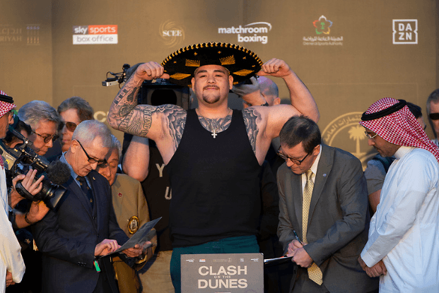 Andy Ruiz weighs in on Dec. 6, 2019 for his rematch versus Anthony Joshua.