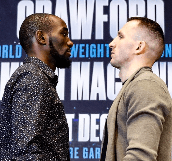 Crawford stares down Mean Machine, who is not predicted to win by many or even any.