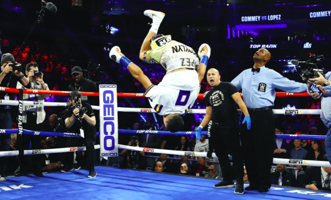 Teofimo Lopez celebrated his Dec. 14 win over Richard Commey with fantastic gymnastics.