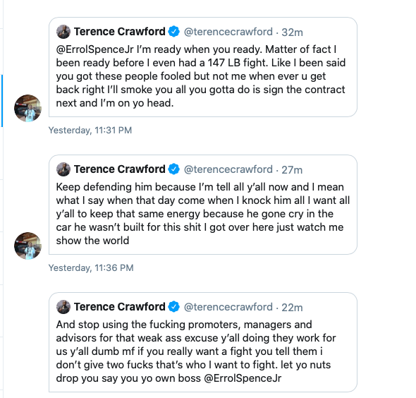 Terence Crawford and Errol Spence were sparring on Twitter, Jan. 5, 2019.