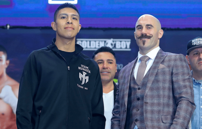 Jaime Munguia and Spike O'Sullivan at presser two days before their middleweight clash in Texas.