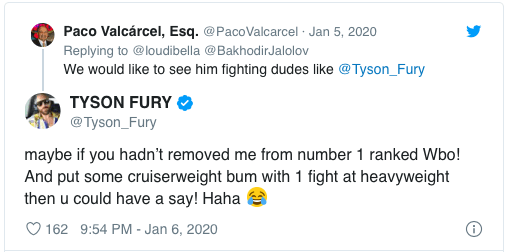 Tyson Fury blasted the WBO president Paco Valcarcel for being bumped from their ratings.