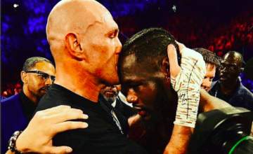 Fury kisses Wilder after stopping him Feb. 22, 2020 in Las Vegas.