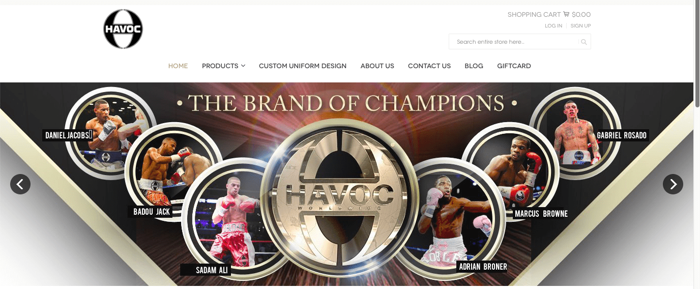 Havoc is a multi tier company, they provide custom made trunks, and also management to fighters, too.