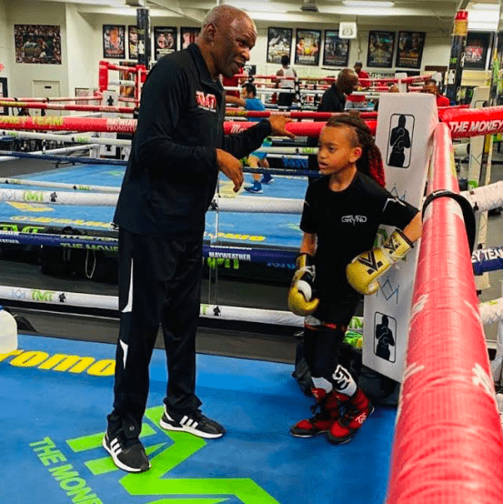 Floyd Mayweather Sr with Money Prince Duarte, who is nine, and started boxing at three.