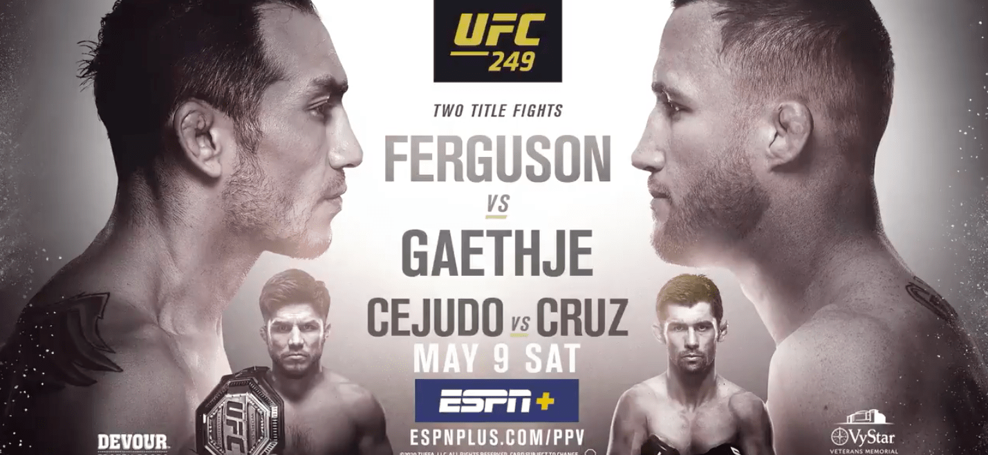 UFC 249 will unfold May 9, 2020, in Jacksonville, Florida.