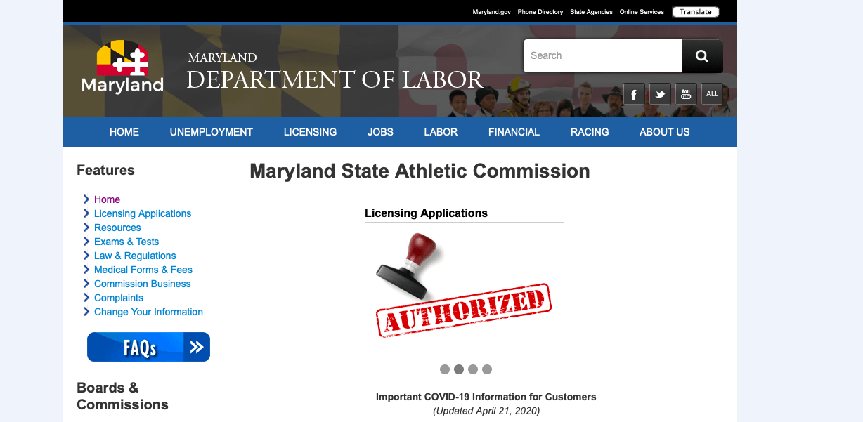 The athletic commission falls under the roof of the Maryland Department of Labor. The commission has to make sure laborers are treated decently and intelligently.