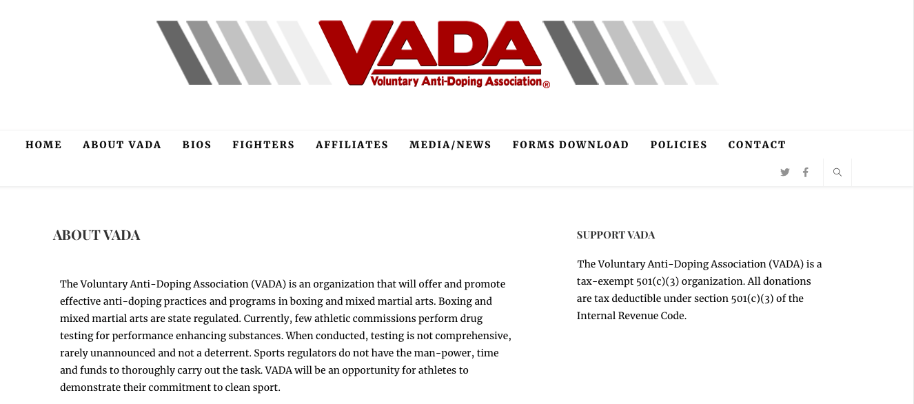 Voluntary Anti-Doping Association handles most all the stringent oversight of boxing in America.