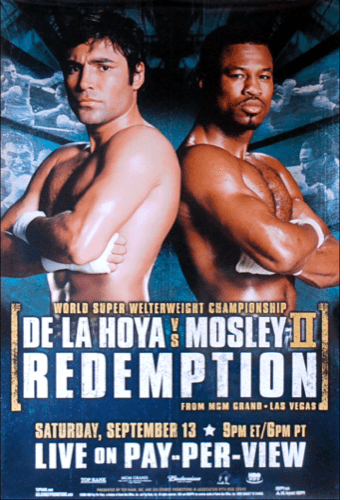 De La Hoya took an L versus Mosley in 2000, and in 2003, looked to even the score.