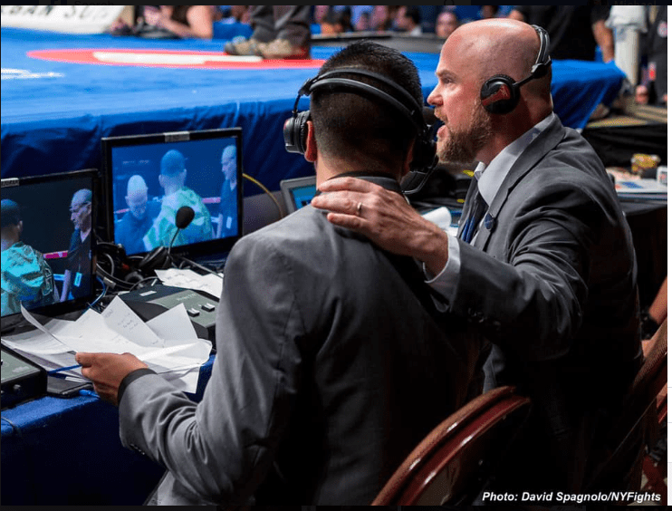 Ray Flores joined Michael Woods, the bald one, for the first Facebook Fightnight Live show, in 2017. FBFNL will offer a PPV option in June, to help fighters get back to work and promoters stay in the game. (David Spagnolo photo)