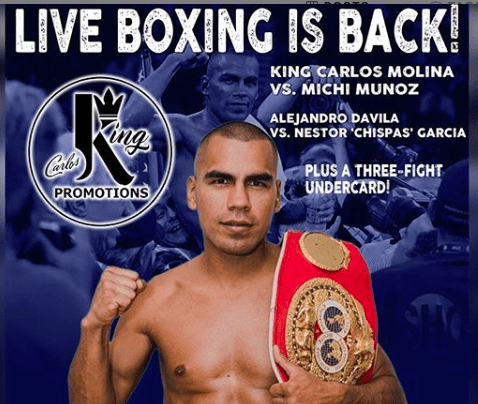 Carlos Molina fights Michi Munoz on June 6, 2020, from Mexico, on the first Facebook Fightnight Live pay per view show.