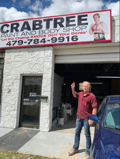 Crabtree Paint and Body Shop is owned by the ex fighter Bobby Crabtree.