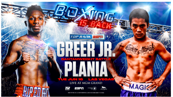 Joshua Greer Jr meets Mike Plania on Tuesday, June 16, 2020 on ESPN.
