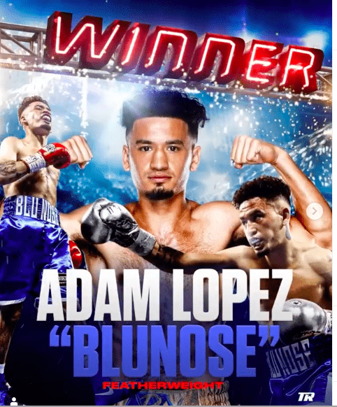 Adam Lopez got the W in the first week back for live fights from Top Rank.