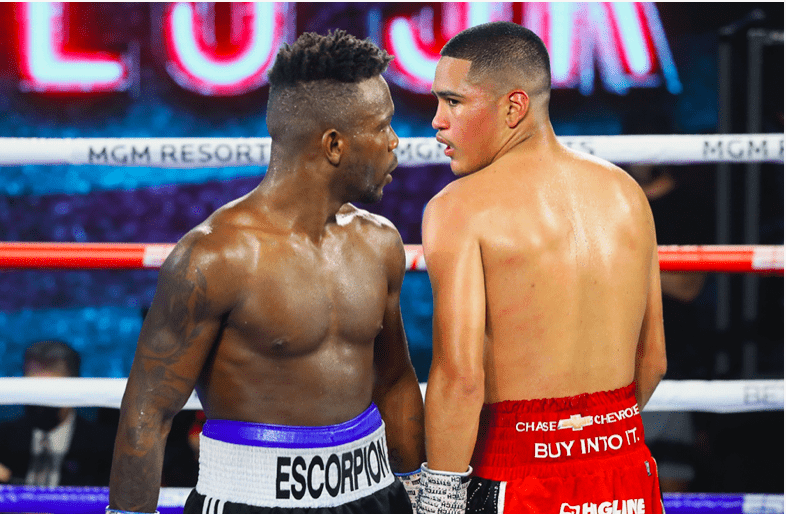 Josec Ruiz and Gabriel Flores Jr glare after a round ends on June 18, 2020 at the MGM.
