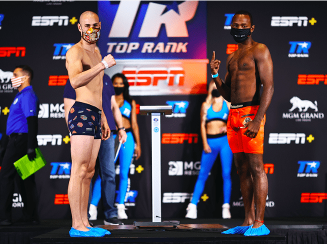 Jose Pedraza and Mikkel LesPierre weigh in for their July 2, 2020 fight on ESPN.
