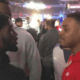 Terence Crawford and Errol Spence assessing each other out of the ring.