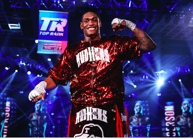 Jared Anderson smiles after winning on July 16, 2020 in Las Vegas and on ESPN.