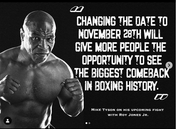 Planners moved the Mike Tyson-Roy Jones fight from September to November, hoping that more fans would be able to attend.