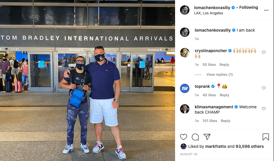 Vasiliy Lomachenko came to the US from Ukraine, at the end of August, 2020.