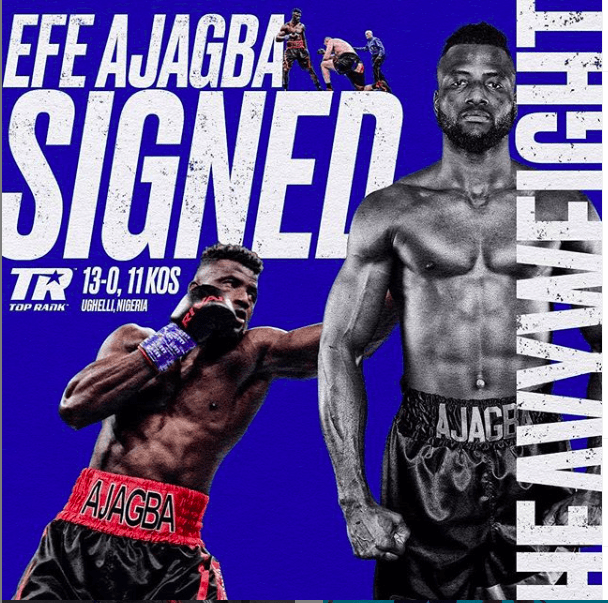 Efe Ajagba got signed by James Prince and Top Rank, and he'll make his TR debut Sept. 19, 2020.