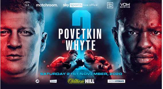Alexander Povetkin meets Dillian Whyte in a rematch, on Saturday, Nov. 21, 2020.
