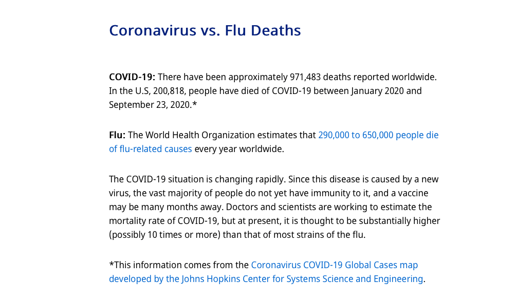 COVID is not just along the same lines as the flu, it is much more deadly than the average flu bug.