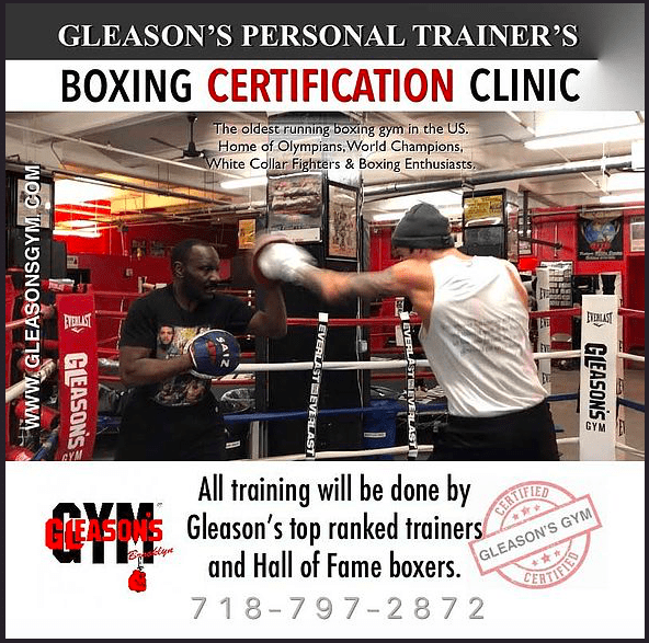 Gleason's will offer a personal trainers boxing certification clinic next month.