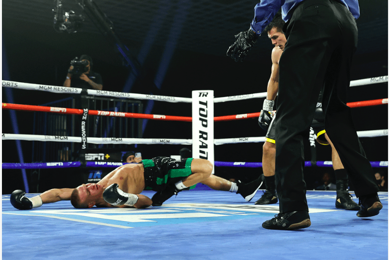 Jose Zepeda stopped Ivan Baranchyk in round five of their Oct. 3, 2020 junior welter scrap in Las Vegas, and on ESPN+.