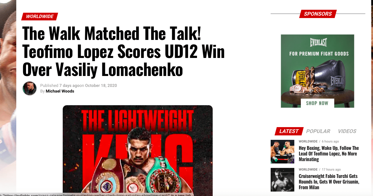 NY Fights covered the Teofimo Lopez-Vasiliy Lomachenko fight and came away very, very impressed with Teofimo.