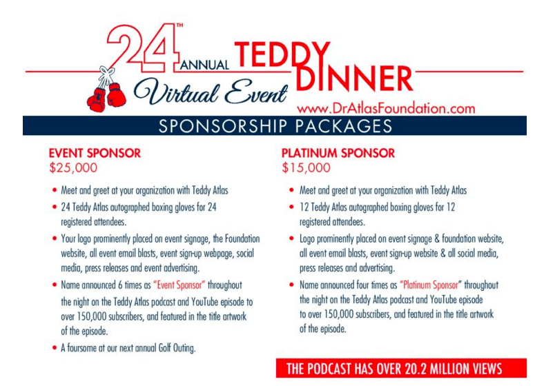 The 24th annual Teddy Atlas Dinner will take place, virtually, on Thursday, Nov. 19.