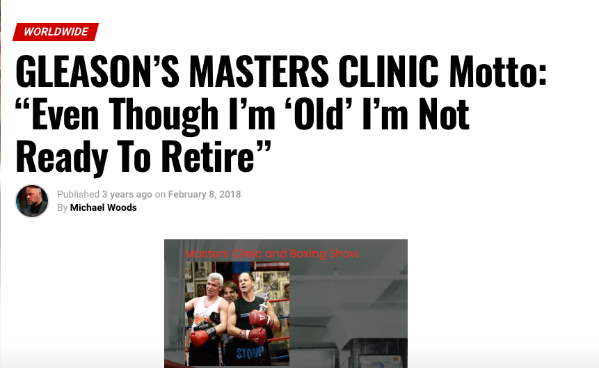 Gleason's Gym in DUMBO, Brooklyn, NY will be the site of the annual Masters Clinic, Dec. 11-12-13, 2020.
