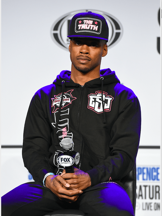 Errol Spence at a Dec. 2, 2020 press conference for his fight with Danny Garcia Dec. 5, 2020.