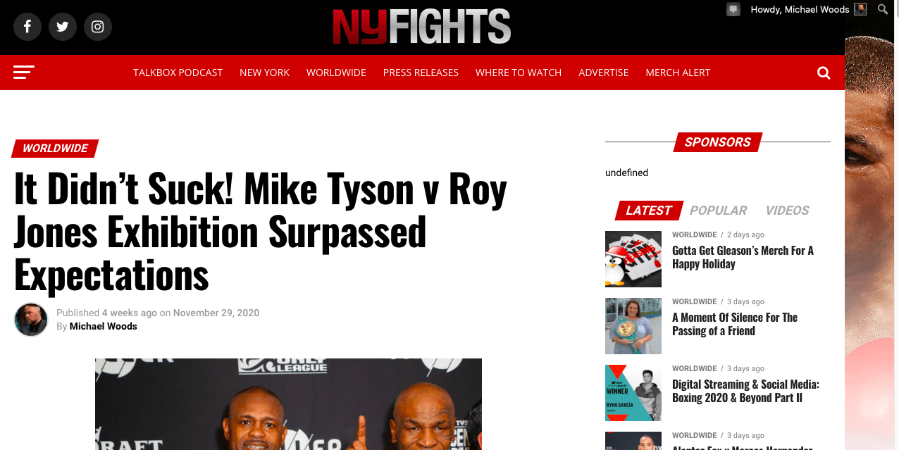 The Mike Tyson v Roy Jones Jr exhibition was no doubt one of boxing's biggest deals in 2020.