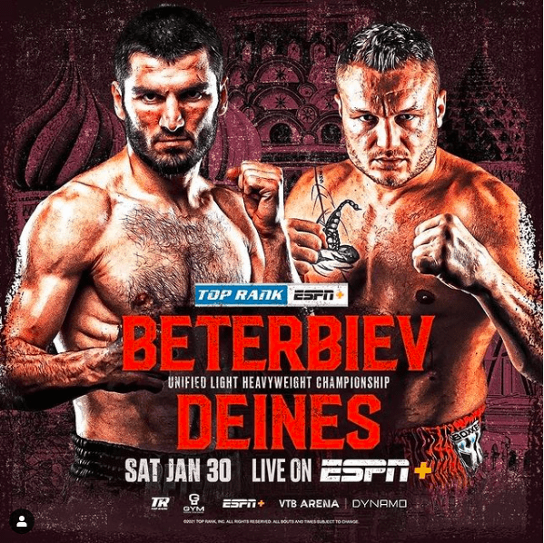 Artur Beterbiev will fight Adam Deines March 20, in a reset from their cancelled Jan. 30 date.