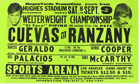 A poster advertising the Sept. 9, 1978 fight between Pipino Cuevas and Pete Ranzany.