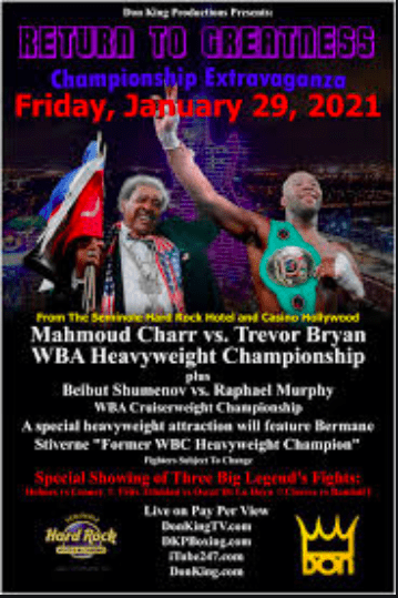A Don King show touting multiple title fights is supposed to take place Jan. 29, 2021 in Florida.