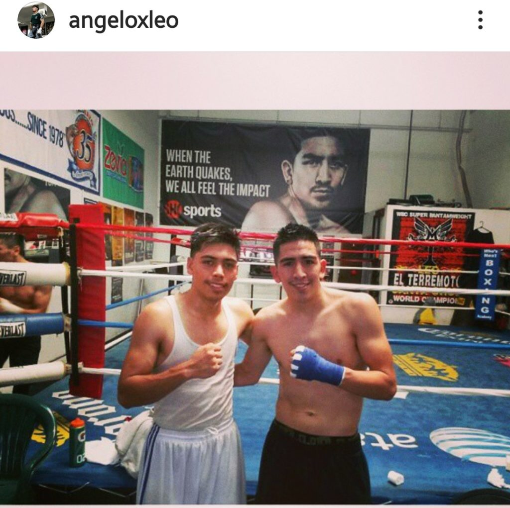 Angelo Leo poses with Leo Santa Cruz. Leo sparred with pros when he was amateur, so he got seasoned quickly.