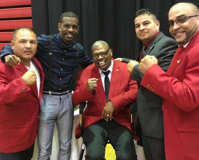 Jamel Herring poses with Leon Spinks.