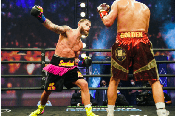 Caleb Plant getting ready to throw at Caleb Truax during their Jan. 30, 2021 bout in LA.