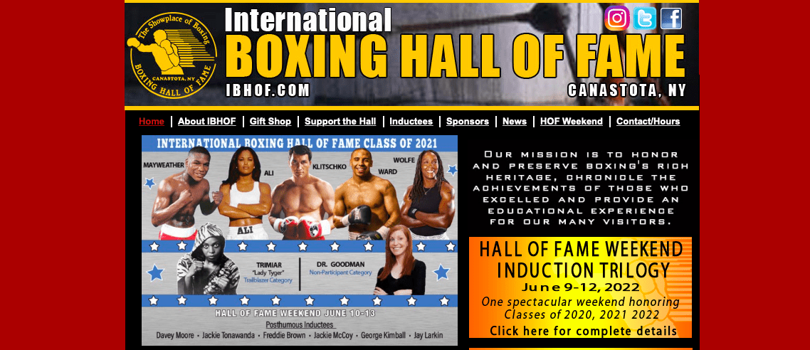 The International Boxing Hall of Fame will put three classes together and do a massive gala in June 2022.