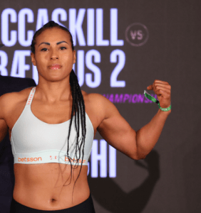 Cecilia Braekhus made weight for her March 13, 2021 fight against Jessica McCaskill.