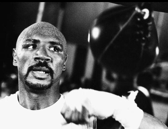 Marvelous Marvin Hagler getting ready for an upcoming bout.