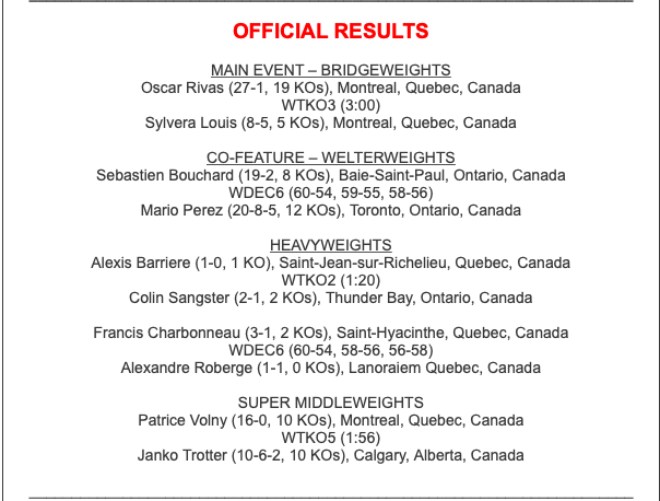 Oscar Rivas topped the March 16 boxing card in Quebec City.