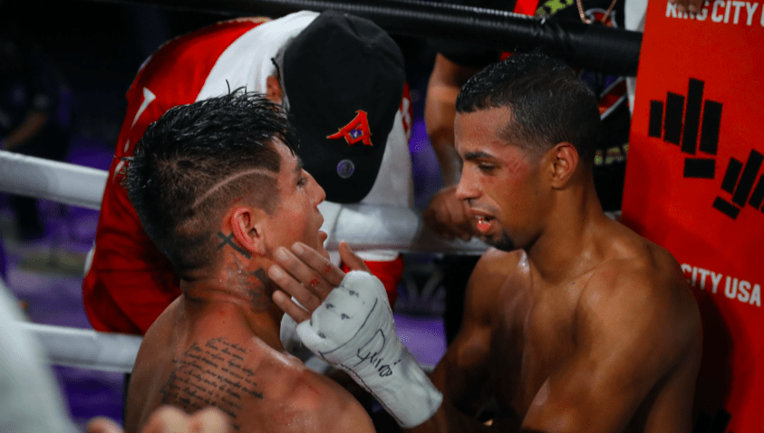 Angel Fierro and Alberto Machado salute each other after a hard battle.