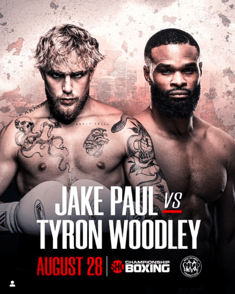 Jake Paul steps up in class when he meets Tyron Woodley on Aug. 28.
