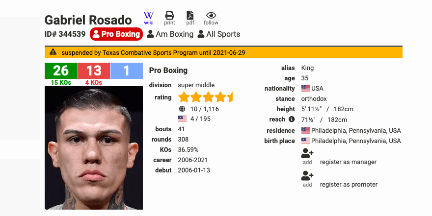 Gabe Rosado is a rugged and ready professional boxer.
