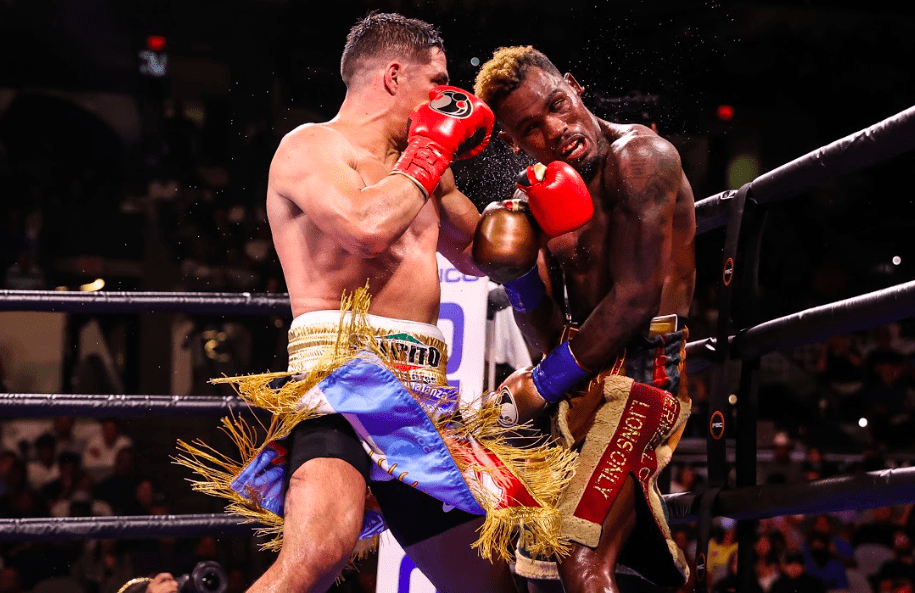 Brian Castano lands the hook on Jermell Charlo, who spent too much time on the ropes on July 17, 2021.