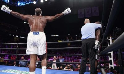Journeyman Jonnie Rice scores an upset TKO win over undefeated Michael Coffie at the Prudential Center in Newark Saturday. Photo: Sean Michael Ham. Premier Boxing Champions
