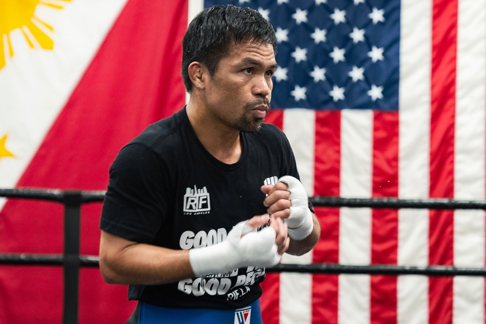 Manny Pacquiao's showdown with Errol Spence Jr. has been called off due to an injury suffered by Spence. He will face replacement Yordenis Ugas. Photo: Ryan Hafey. Premiere Boxing Champions